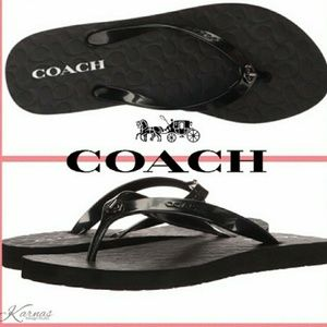 Coach Abbigail Sandals Thong Flip Flops Black